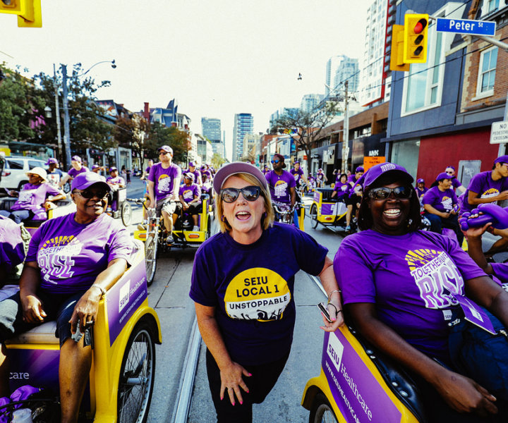 "On September 3, 2018, SEIU Healthcare members ""purple stepped"" for workers' rights during various Labour Day parades and picnics in Ontario."
