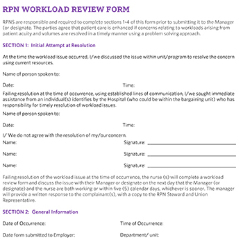 Hospital Sector RPN Workload Review Form